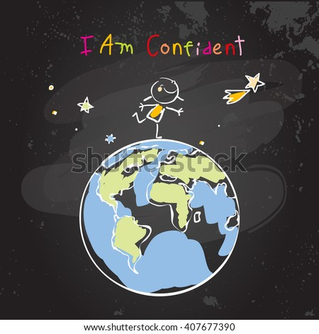 Confident child, girl, happy successful schoolgirl on top of the world, globe. Conceptual vector illustration, chalk on blackboard doodle, hand drawn sketch, scribble.  - stock vector