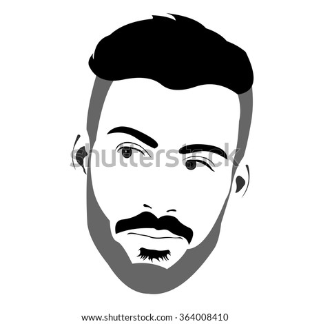 Confident handsome bearded man looking back over the shoulder. Easy editable layered vector illustration.  - stock vector