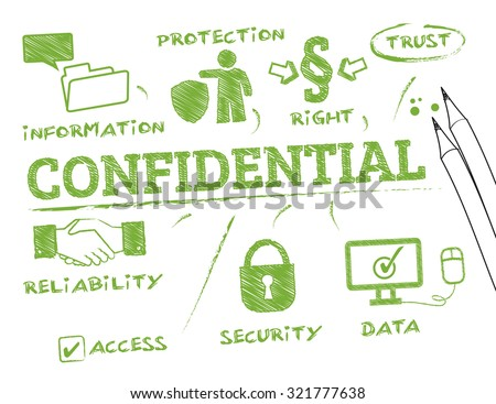 confidential concept. Chart with keywords and icons - stock vector