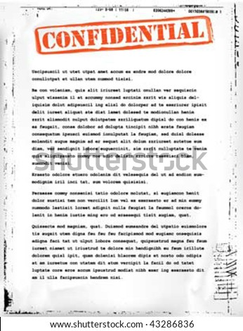 confidential document template - stock vector