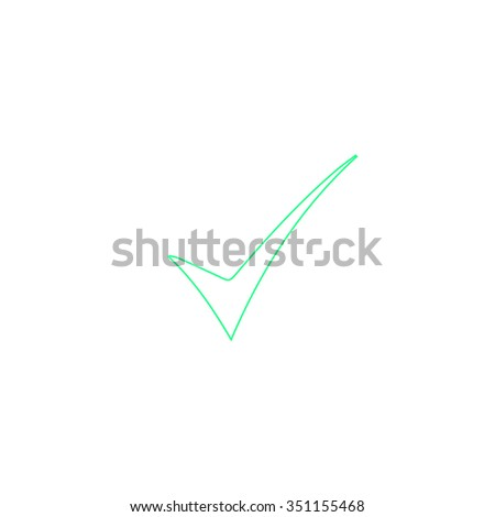 confirm Outline vector icon on white. Line symbol pictogram