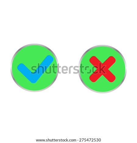 confirmation button and cancellations - stock vector