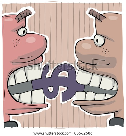 Conflict of two greedy men biting a dollar sign with big teeth - stock vector