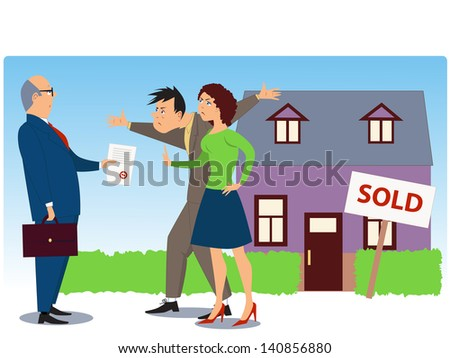 "Conflict over real estate sell and eviction. Businessman present documents to an angry couple, a house with a ""Sold"" sign in the background - stock vector"