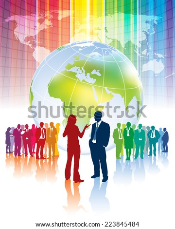 Confrontation of different business teams and their leaders - stock vector