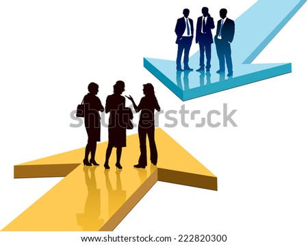 Confrontation of different views, men and women wish to speak. - stock vector