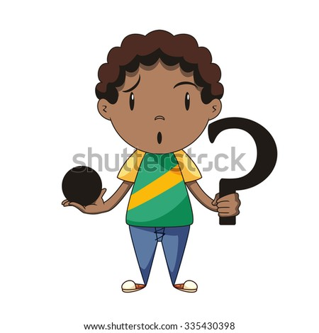 Confused boy, riddle, vector illustration  - stock vector