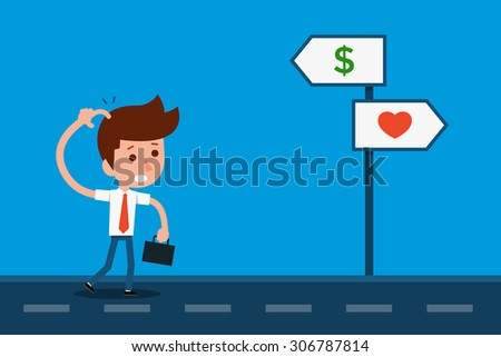 Confused Businessman At Signpost. - stock vector