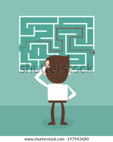 Confused, businessman looking at the red arrow through the labyrinth - stock vector