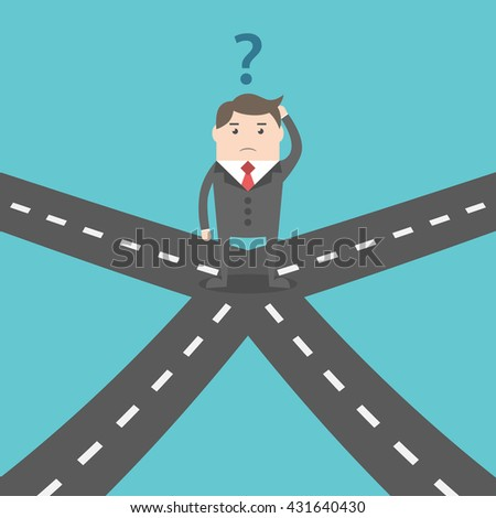 Confused businessman standing on crossroads and choosing way. Choice, opportunity, confusion, career, decision and solution concept. EPS 8 vector illustration, no transparency - stock vector