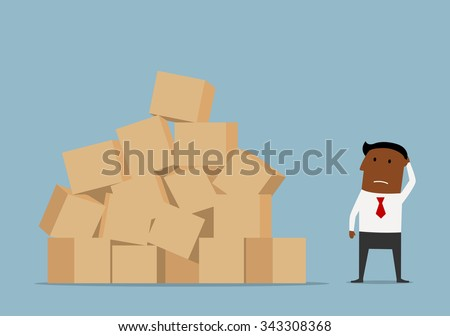 Confused cartoon african american businessman looking at large pile of cardboard boxes and worrying about problems of delivery - stock vector