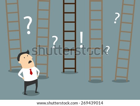 Confused cartoon businessman looking at ladders trying to choose the right way to success in flat style suitable for strategy planning and business choices concept design - stock vector