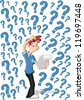 Confused cartoon man surrounded by question marks - stock photo