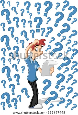 Confused cartoon man surrounded by question marks - stock vector