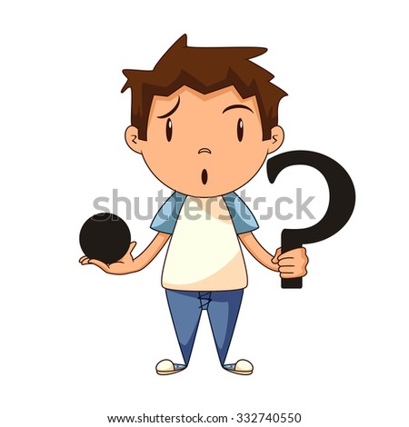 Confused child, riddle, vector illustration - stock vector