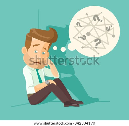 Confused employee. Vector flat illustration - stock vector