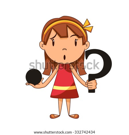 Confused girl, riddle, vector illustration - stock vector
