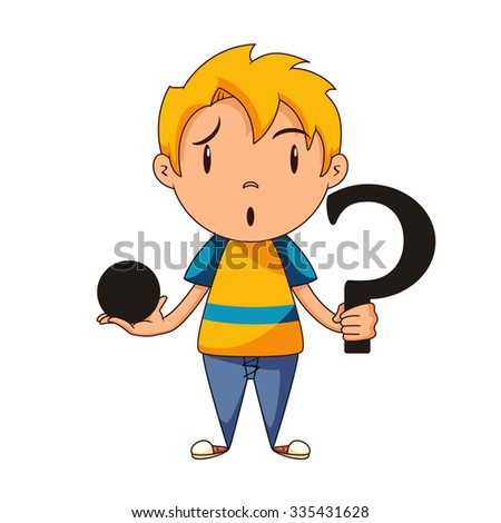 Confused kid, riddle, concept, vector illustration - stock vector