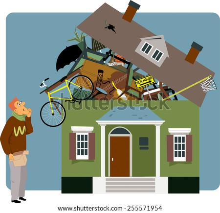 Confused man holding a small box, looking at a house overflown with his belongings, vector illustration - stock vector