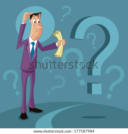 confused man with question mark, Confusion concept - stock vector