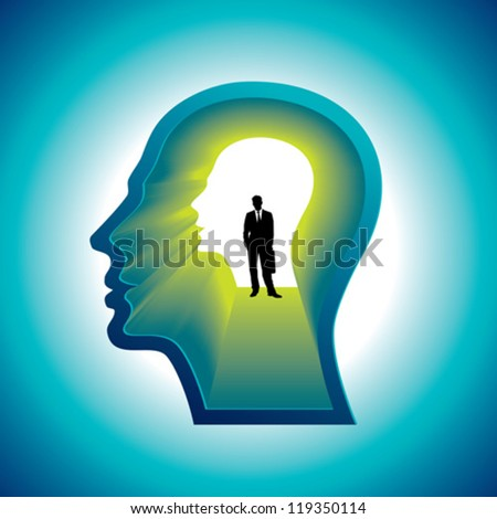 Confused Mind The businessman inside the head - stock vector