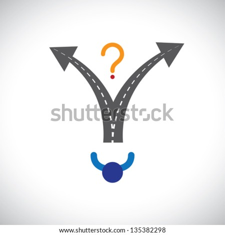 Confused person career choice decision making difficulty graphic. The illustration also represents decision making problems when many options are present in people's career, life, etc - stock vector