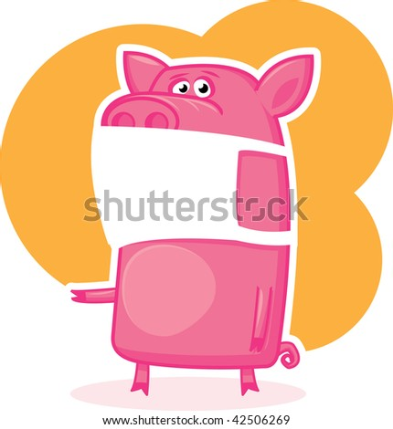 Confused pig  in a mask, swine-flu illustration - stock vector