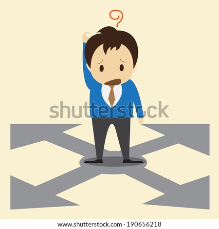 Confused, Standing at the crossroad - stock vector