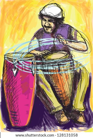 Conga player. Colored drummer in expressive outlines with colored background. /// Vector description: contours in shades of gray and black, editable in 9 layers. - stock vector