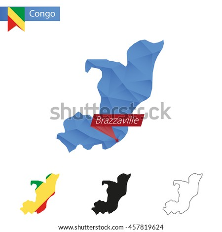 Congo blue Low Poly map with capital Brazzaville, versions with flag, black and outline. Vector Illustration. - stock vector