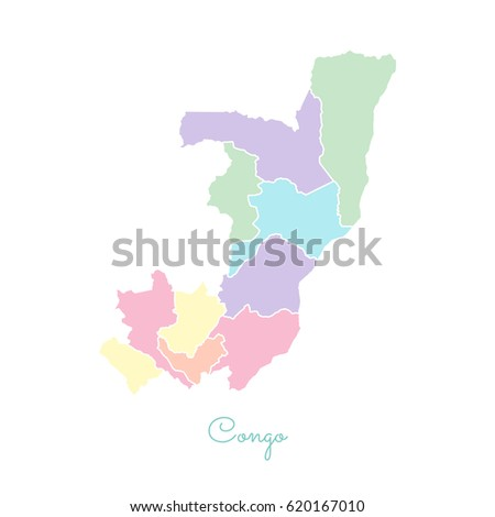 Congo Region Map Colorful With White Outline Detailed Map Of Congo Regions Vector