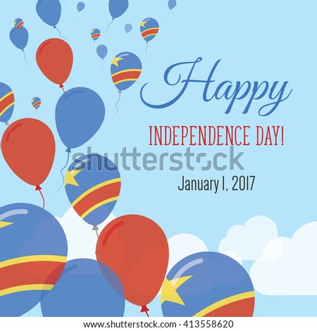 Congo Democratic Republic Independence Day Greeting Stock Vector - Congo independence day
