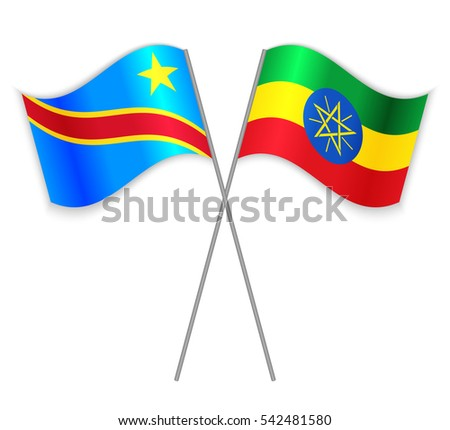 Congolese and Ethiopian crossed flags. Democratic Republic of the Congo combined with Ethiopia isolated on white. Language learning, international business or travel concept.