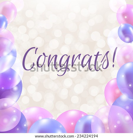Congrats Card With Balloons With Gradient Mesh, Vector Illustration - stock vector