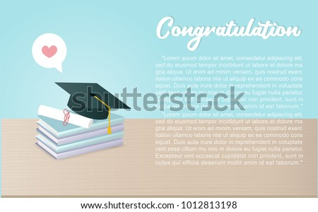 Announcement invitation graduation ceremony graduation cap stock congratulation card with graduation hat and books on the table invitation card design vector illustration filmwisefo Images