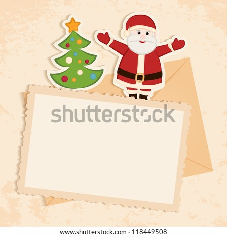 Congratulation gold retro background with Santa claus, Christmas tree and letter. You can use frame for your text or photo - stock vector