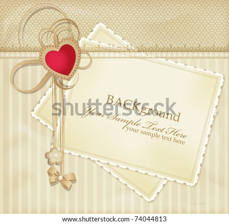 congratulation gold vector retro background with red heart - stock vector