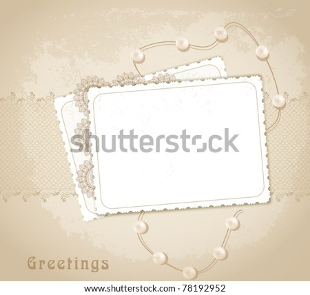 congratulation vector retro background with ribbons,pearls,bow - stock vector