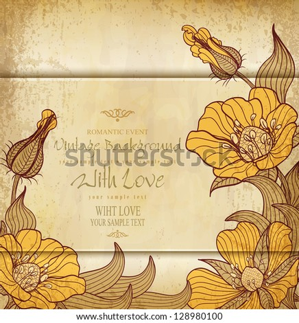 congratulation vintage vector old paper with drawing flowers - stock vector