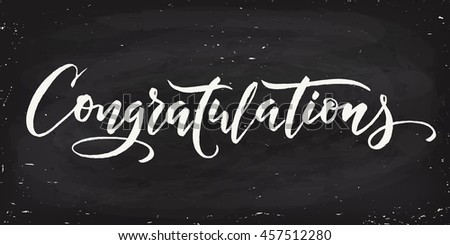 Congratulations calligraphy. Hand written text.  Lettering. Calligraphic banner. Blackboard design.  - stock vector