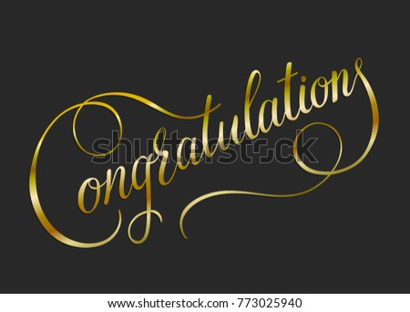 Congratulations card banner poster sign template stock vector congratulations card banner poster sign template gold letters gradient hand drawn calligraphy font vector pronofoot35fo Image collections