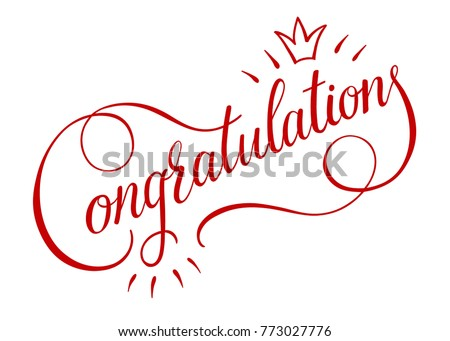 Congratulations card banner poster sign template stock vector congratulations card banner poster sign templated lettering hand drawn calligraphy font vector pronofoot35fo Image collections