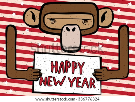 Congratulations cartoon Happy New Year 2016 monkey with red stripes - stock vector