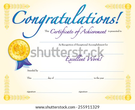 Congratulations Certificate Achievement Stock Vector