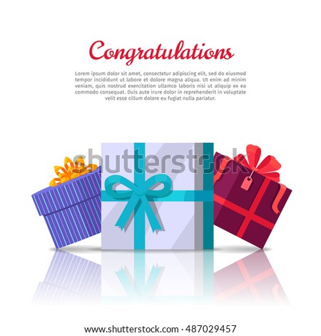 Congratulations conceptual web banner in flat style. Colorful gift boxes with ribbons on white background. Illustration for decoration, event management companies landing page design, sales ad