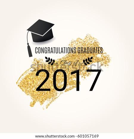 congratulations graduates class 2017 vector design stock