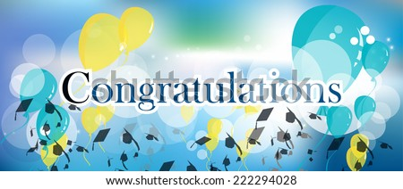 Congratulations Graduation Background With Sparkles And Stars Balloons Mortar Board Hats