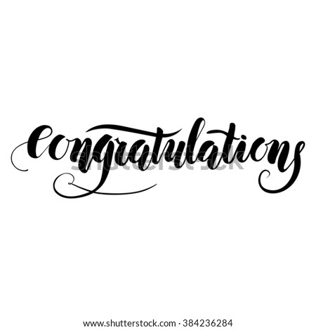 Congratulations, ink handmade lettering. Vector calligraphy and design element - stock vector