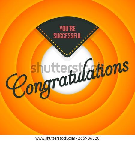 Congratulations Lettering, Movie Style Orange Color Background - stock vector