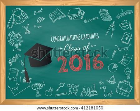 Congratulations on graduation class of 2016. Vector design for the graduation party - stock vector